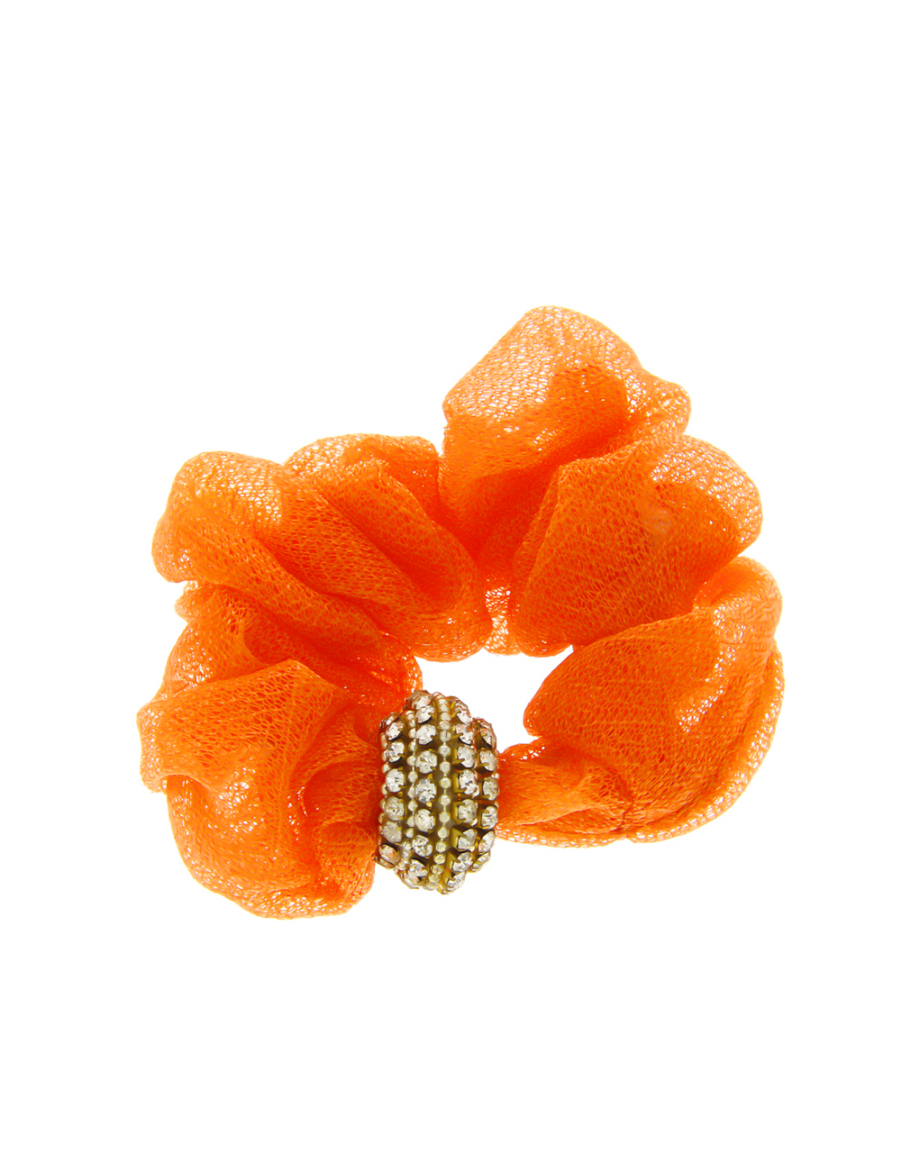 Orange Colour Studded With Stones Rubber Hair Band