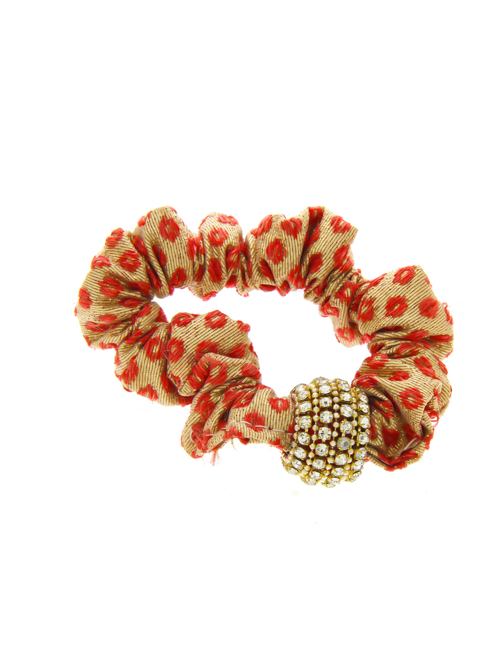 Red Colour Studded With Stones Fancy Rubber Band