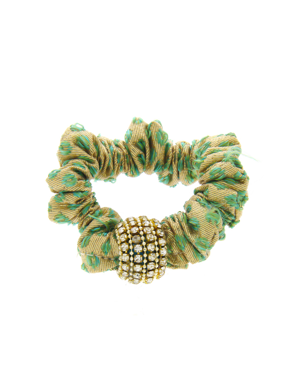 Green Colour Studded With Stones Fancy Rubber Band