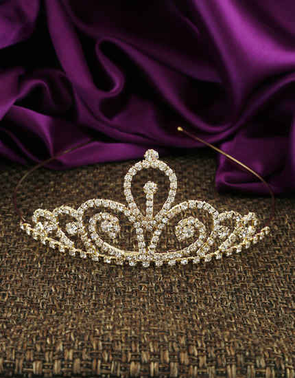 Adorable Gold Finish Studded With White Stones Fancy Hair Crown