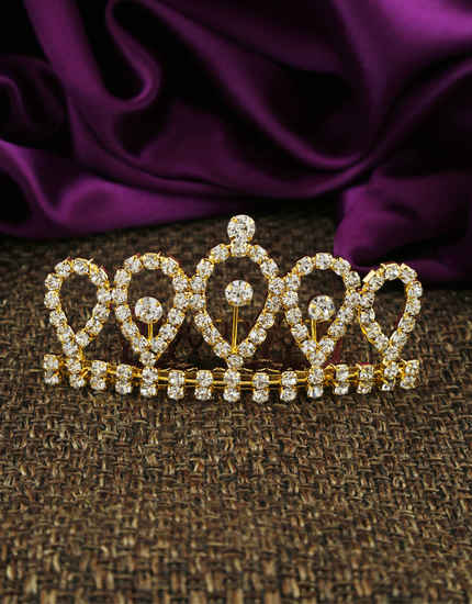 Unique Design Gold Finish Stunning Hair Crown
