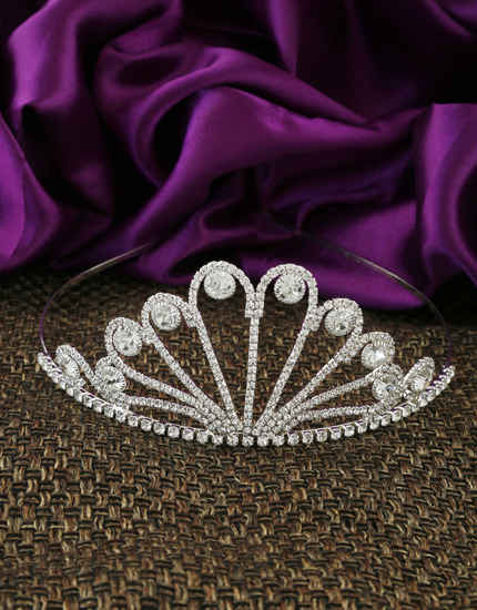 Fashionable Silver Finish Studded With Stones Hair Crown For Women