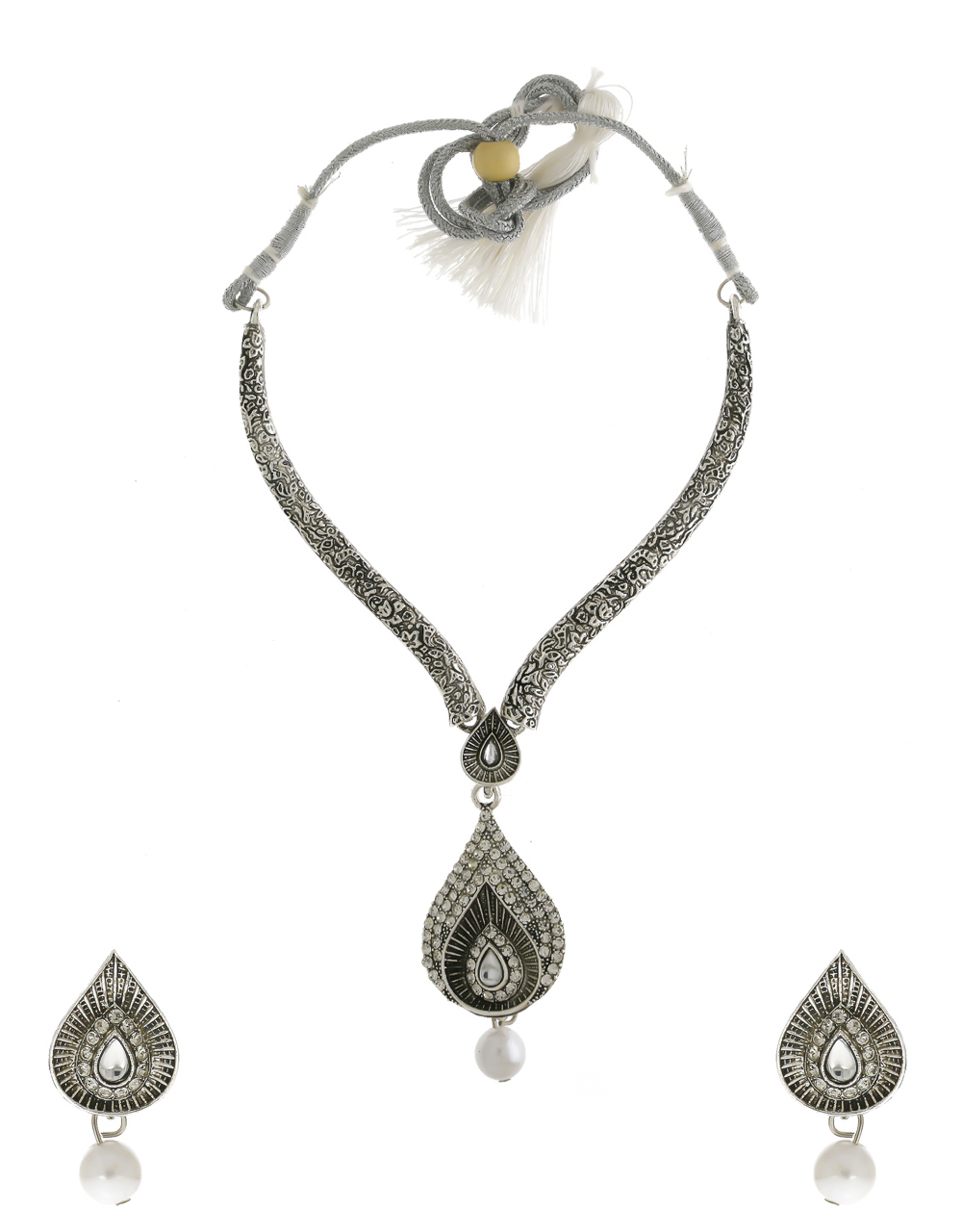 Silver Oxidised Finish Studded With Stones Necklace