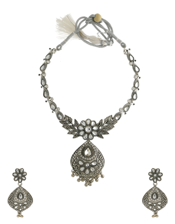 Floral Design Silver Finish Party Wear Short Necklace