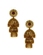 Antique Gold Finish Pink Colour Zumkaa Earrings