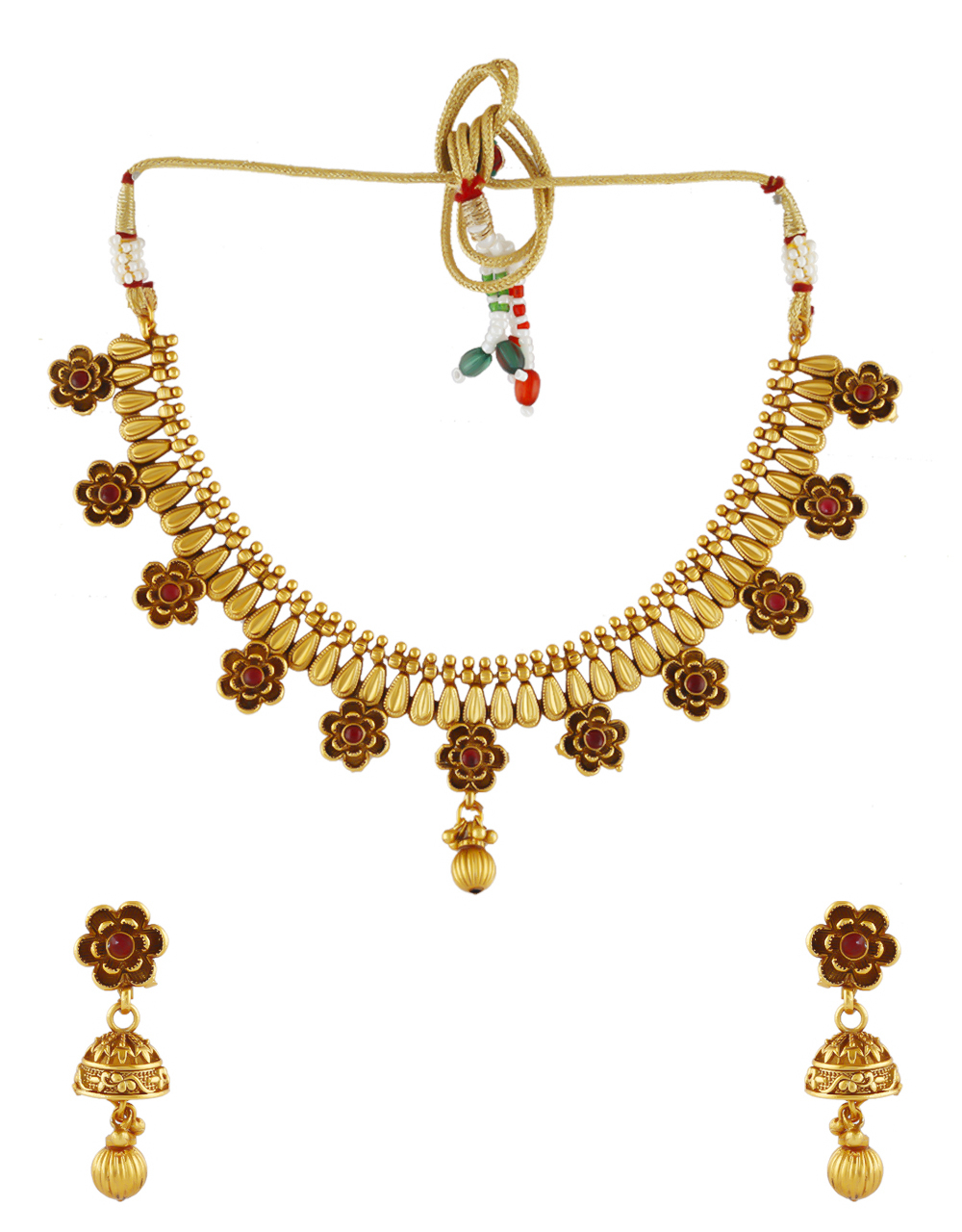 Pink Colour Floral Design Traditional Necklace For Women