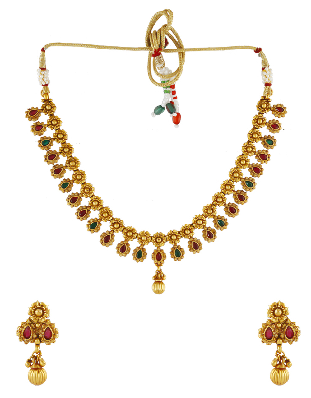 Multi Colour Floral Design Traditional Necklace For Girls