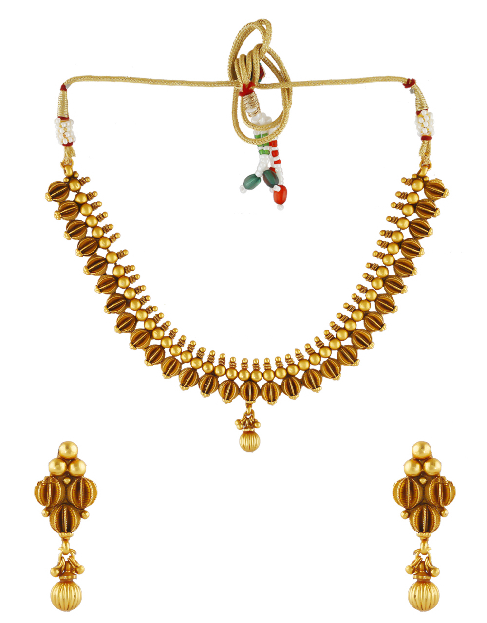 Fashionable Gold Finish Traditional Necklace For Wedding Fancy