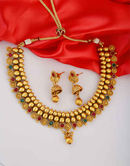 Multi Colour Matte Finish South Indian Necklace Jewellery