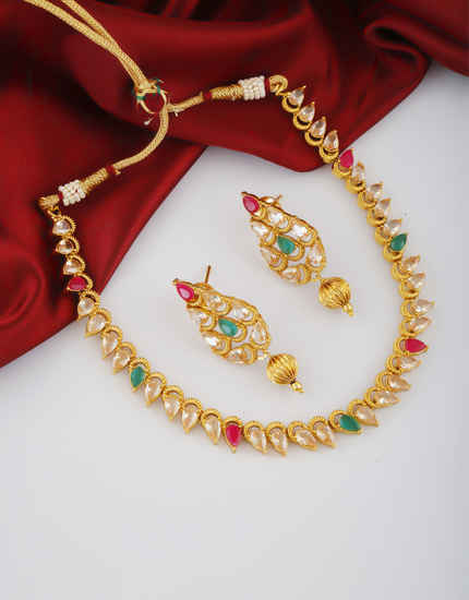 Simple Gold Finish Studded With Stones Fancy Stylish Necklace
