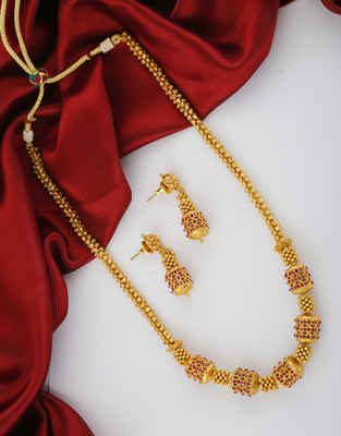 Pink Colour Gold Finish Necklace Mala For Women Fancy Wear