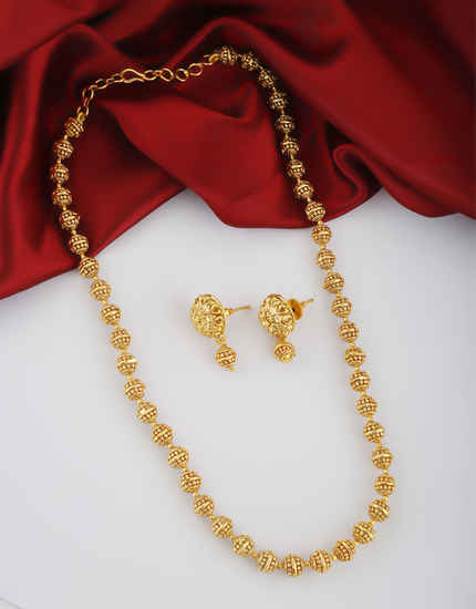 Gold Finish Necklace Mala For Simple Wear