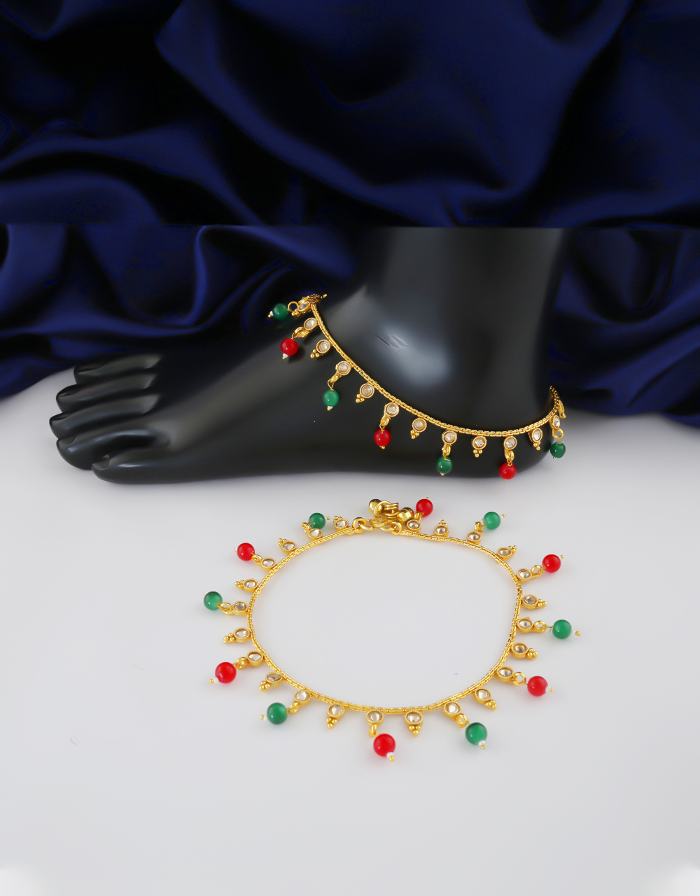 Multi Colour Gold Finish Traditional Payal For Girls Fancy Wear
