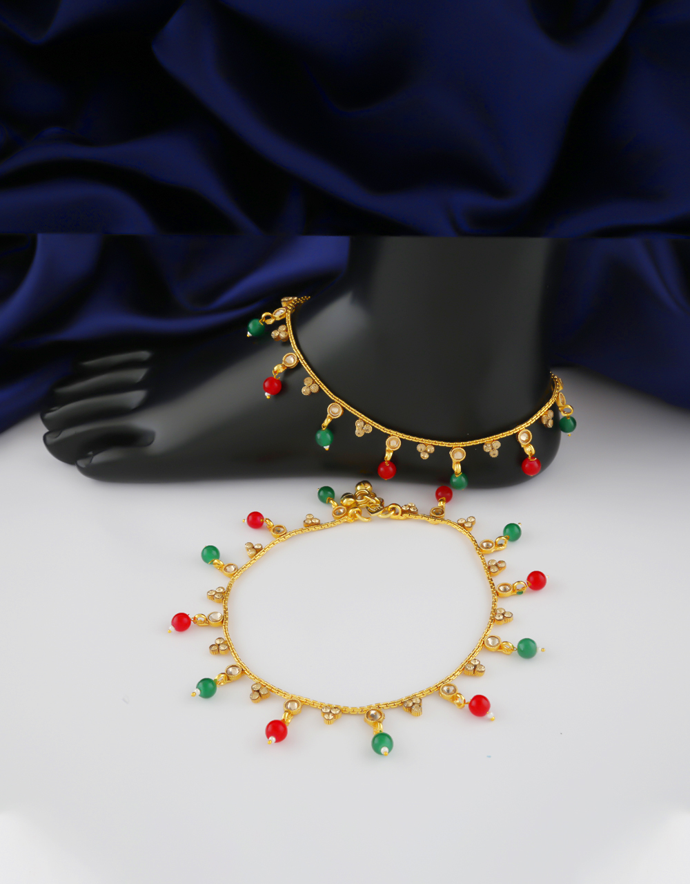 Fancy Gold Finish Styled With Beads Fancy Anklet Payal