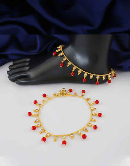 Red Colour Gold Finish Traditional Payal For Women