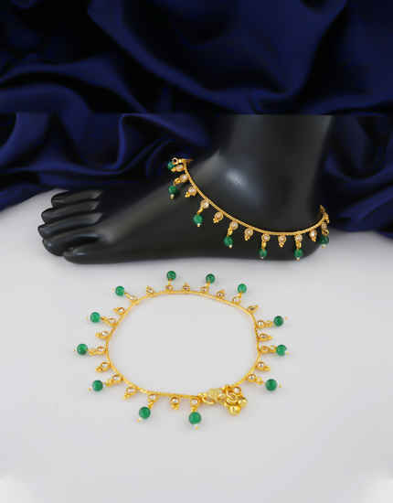Green Colour Gold Finish Traditional Fancy Payal
