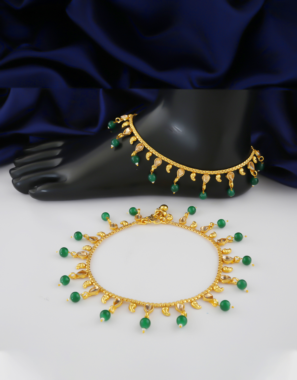 Fancy Green Colour Gold Finish Traditional Payal For Wedding