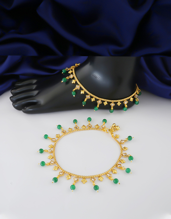 Designer Green Colour Gold Finish Payal For Wedding Fancy
