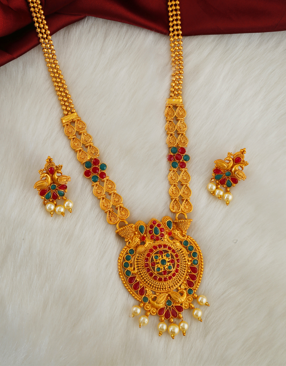 Designer South Matte Finish Moti Styled Traditional Necklace