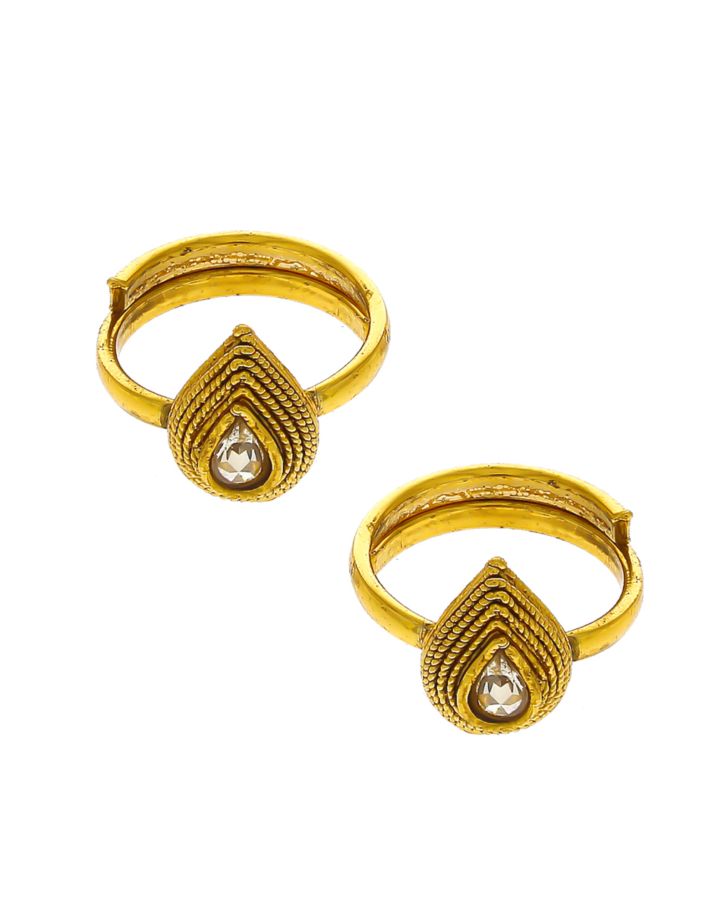 Fancy Gold Finish Toe Ring Traditional For Women