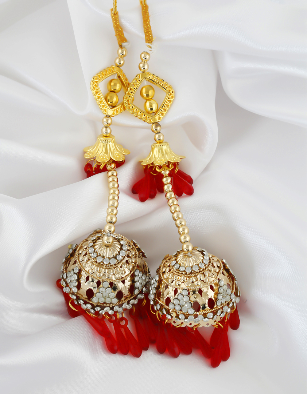 Red Colour Gold Finish Punjabi Kalire For Wedding