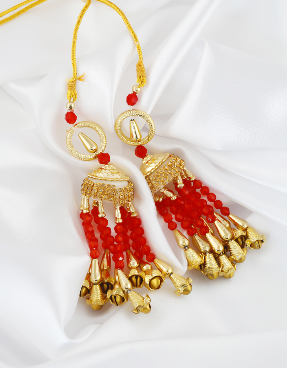 Fancy Red Colour Gold Finish Beads Styled Wedding Kalire