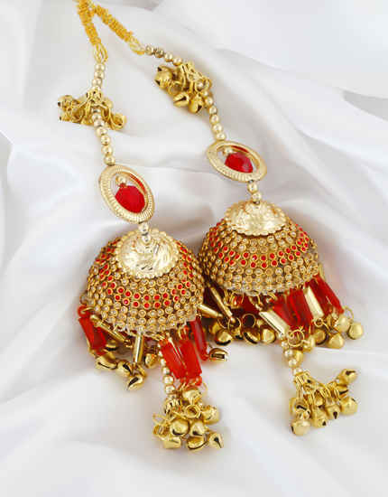 Red Colour Stunning Suhag Beads Kalire For Bride