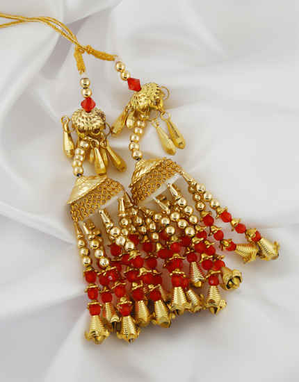 Delicated Gold Finish Red Colour Beads Styled Kalire Fancy