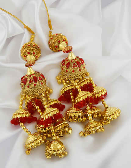 Beautiful Red Colour Gold Finish Artificial Punjabi Kalire
