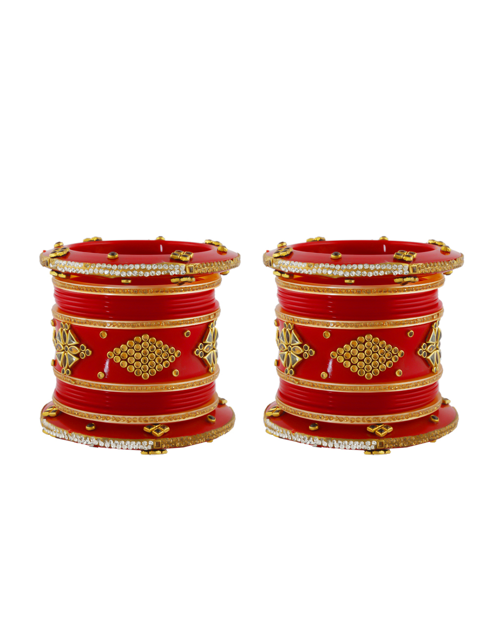 Red Colour Chura Studded With Stones Fancy Punjabi Bangles