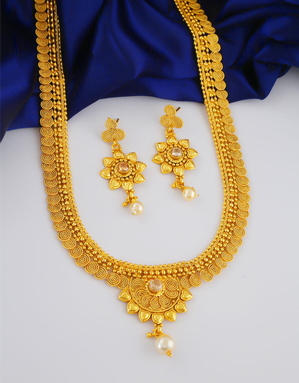 Floral Design Gold Finish Styled With Pearls Beads Long Necklace