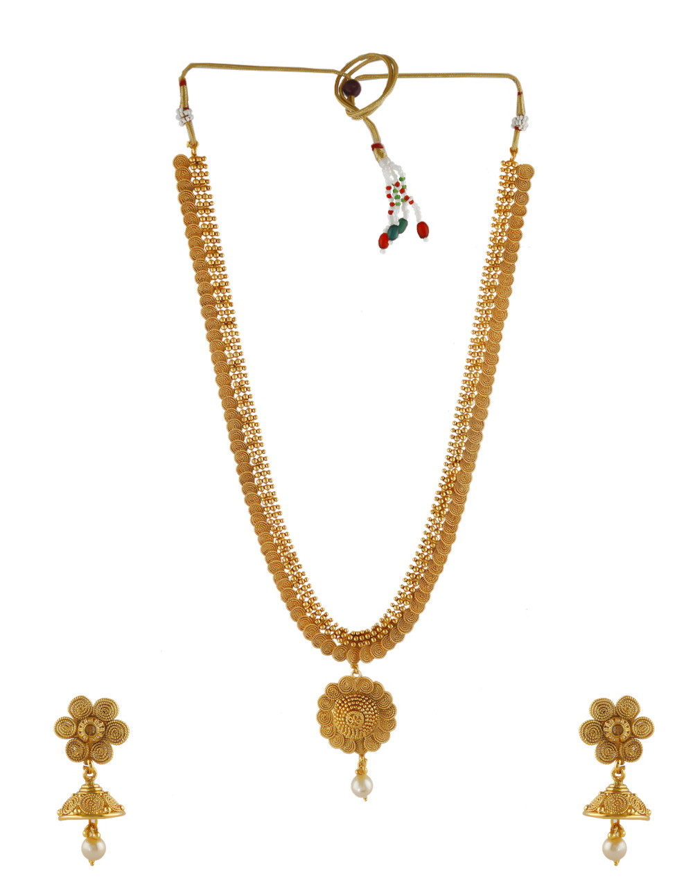 Fancy Gold Finish Pearls Styled Traditional Long Necklace