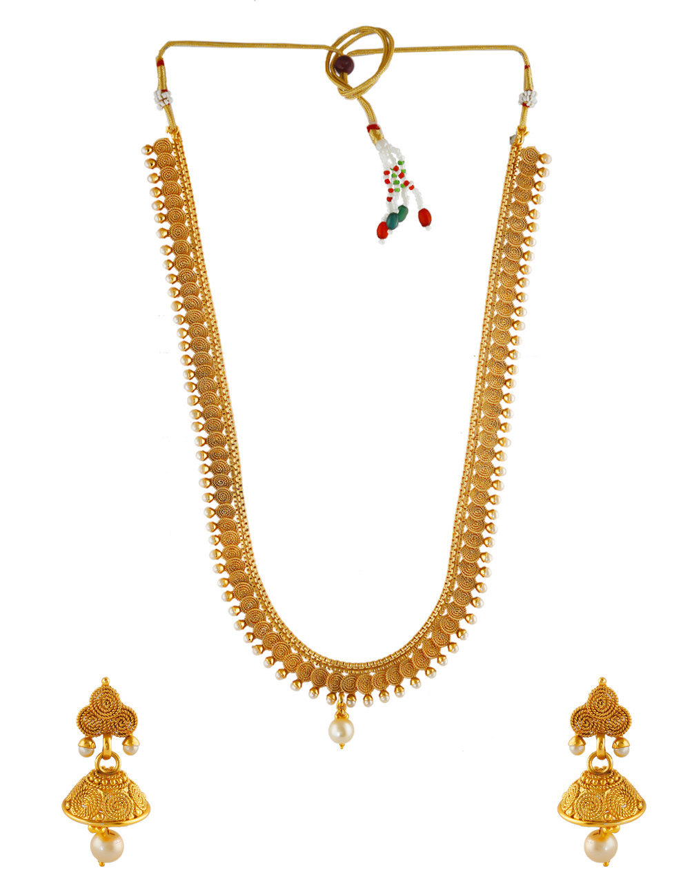 Beautiful Gold Finish Long Necklace Styled With Pearls Beads Jewellery