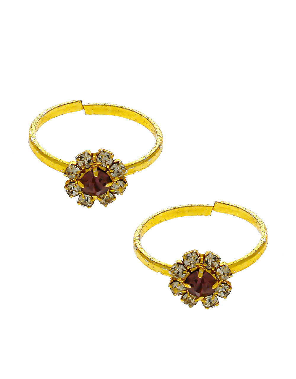 Red Colour Gold Finish Stunning Toe Ring For Women