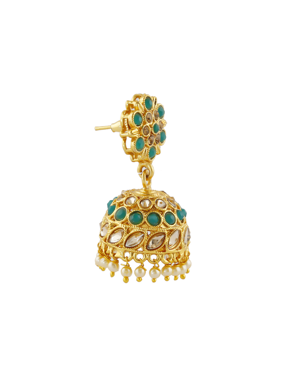 Gold Finish Green Colour Fancy Pearls Styled Jhumki