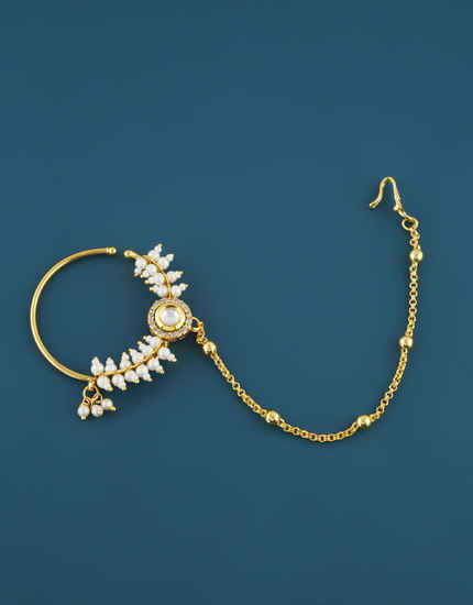 Fancy Gold Finish American Diamond Nose Ring For Women