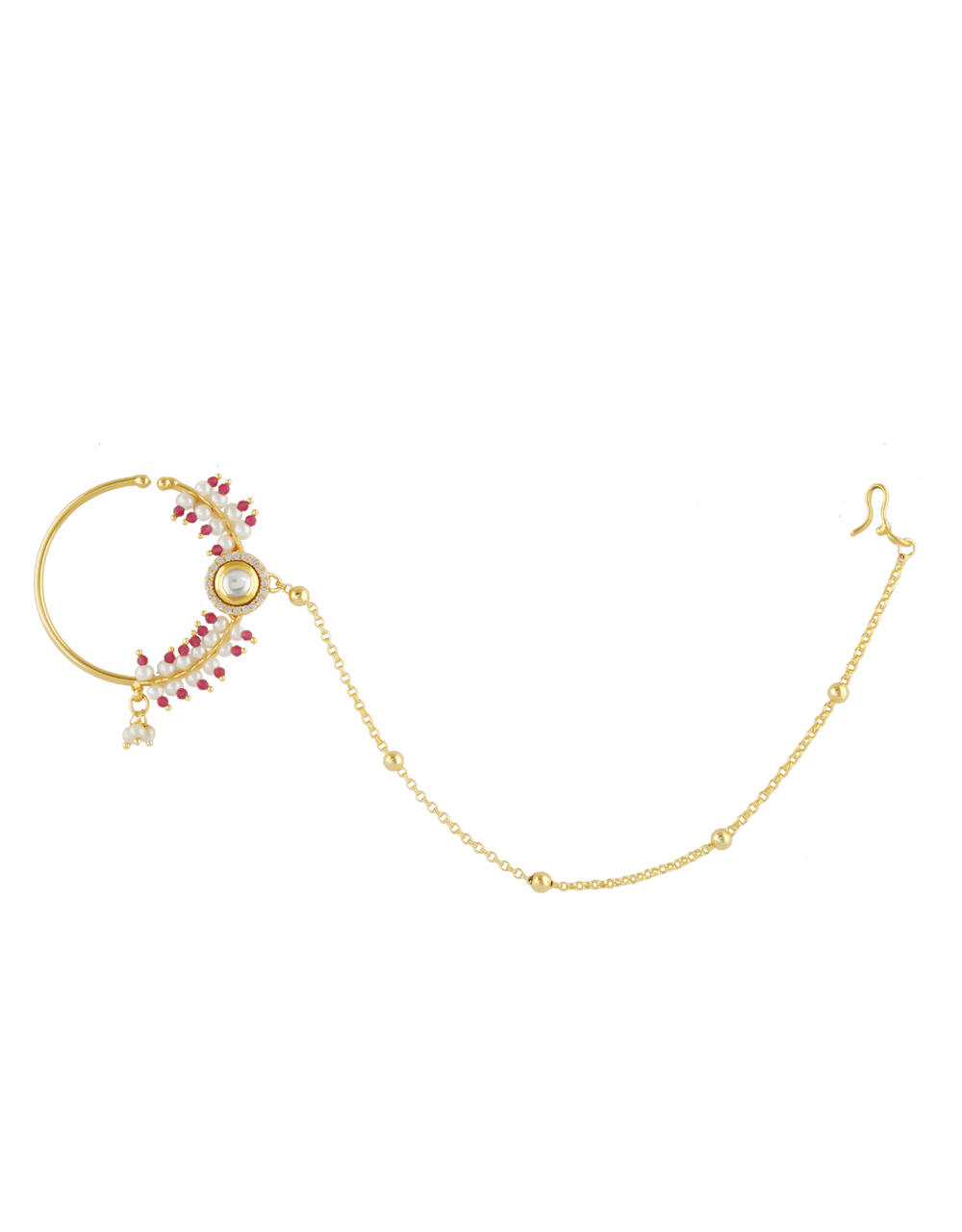 Pink Colour Gold Finish American Diamond Kundan Nose Ring