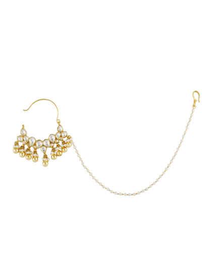 Fashionable Gold Finish Kundan Pearls Styled Designer Nose Ring