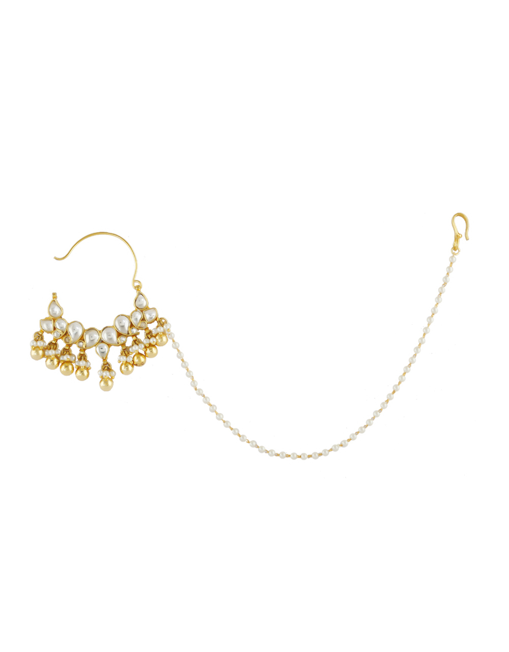 Buy Fashionable Gold Finish Kundan Pearls Styled Designer Nose