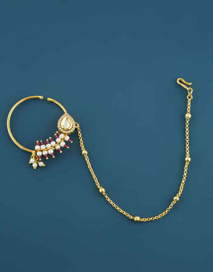 Pink Colour Gold Finish Pearls Styled Kundan Nose Ring