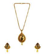 Peacock Design Gold Finish Stunning Pendant Set For Women