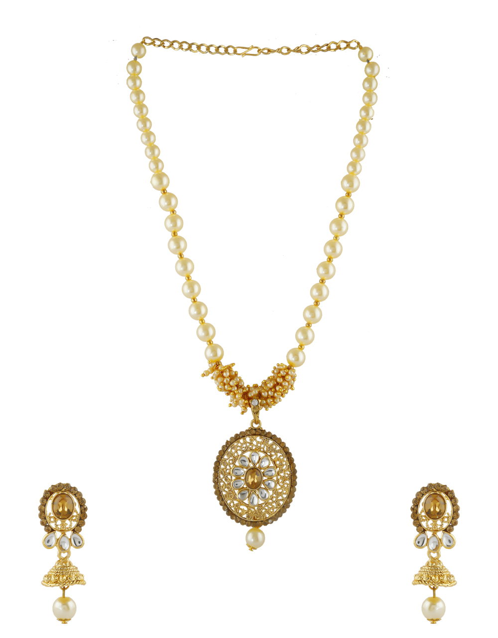 Gold Finish Pendant Set Styled With Pearls Beads Fancy Chain Pendant
