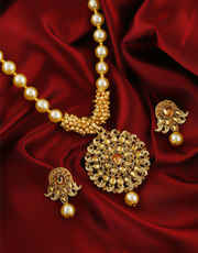 Fancy Gold Finish Styled With Pearls Beads Necklace Pendant Set
