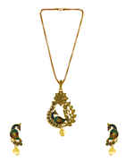 Peacock Design Antique Gold Finish Fancy Stunning Pendant Jewellery Set