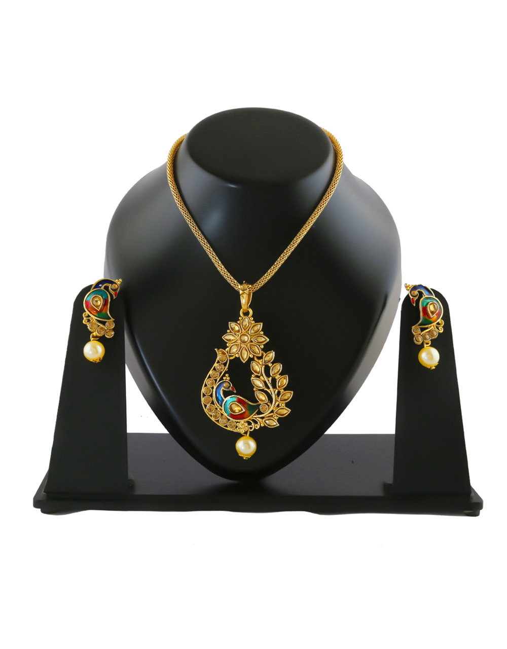 Peacock Design Antique Gold Finish Fancy Stunning Pendant Jewellery Set