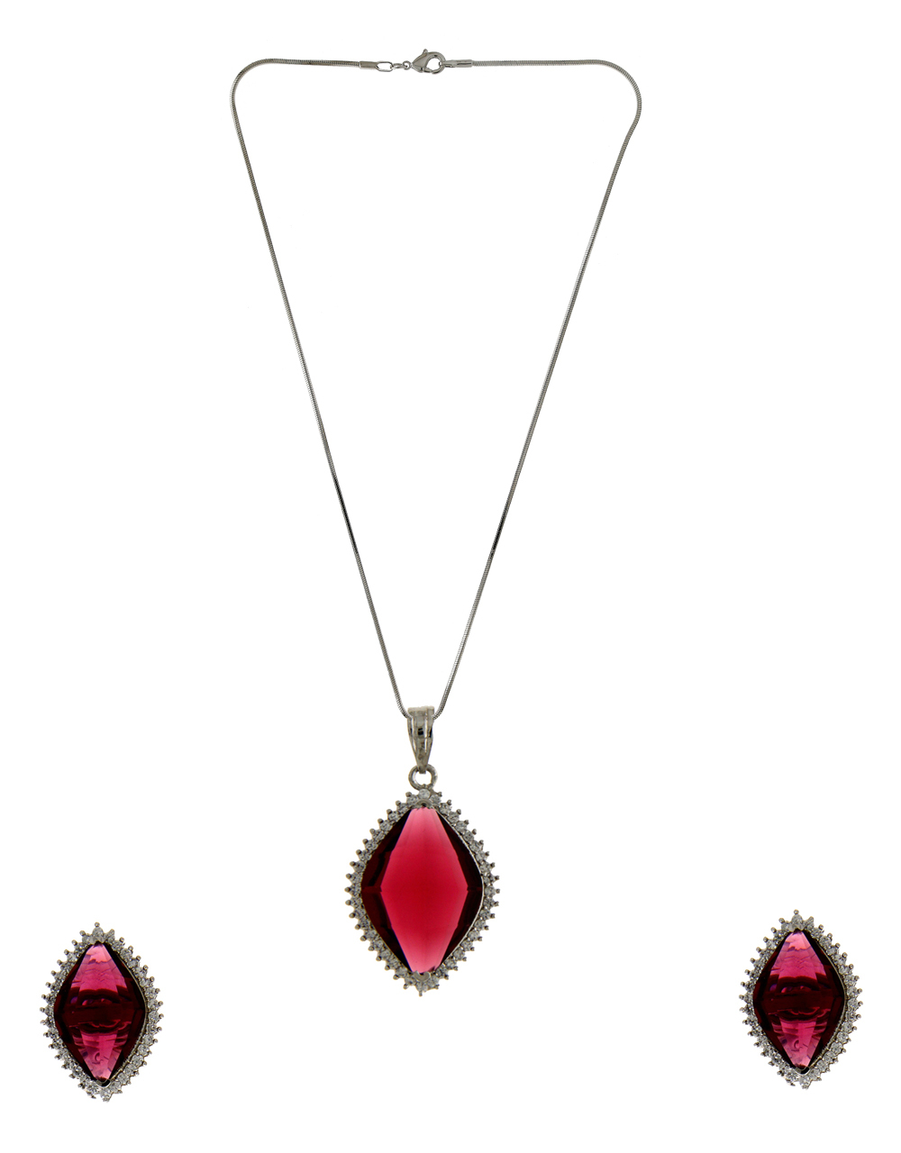 Pink Colour Adorable Silver Finish Fancy Chain Diamond Pendant Set