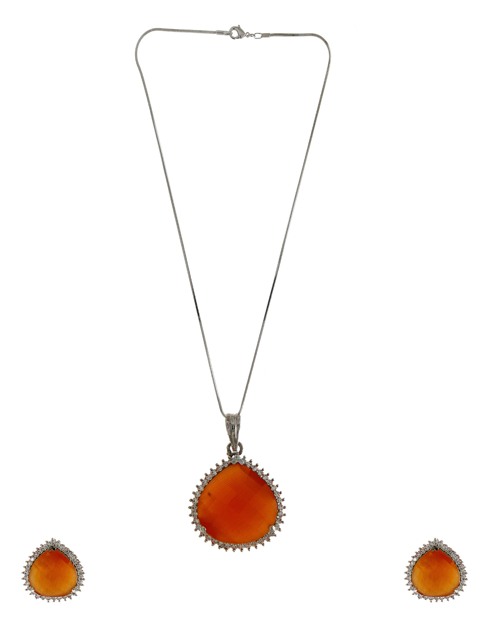Orange Colour Silver Finish Party Wear American Diamond Chain Pendant Set