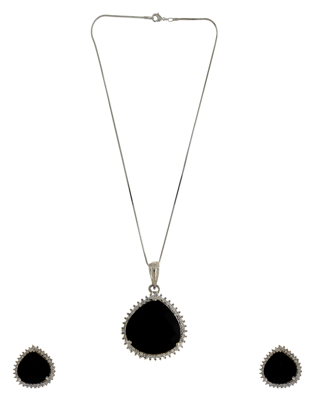 Black Colour Adorable Silver Finish Stylish Pendant Set