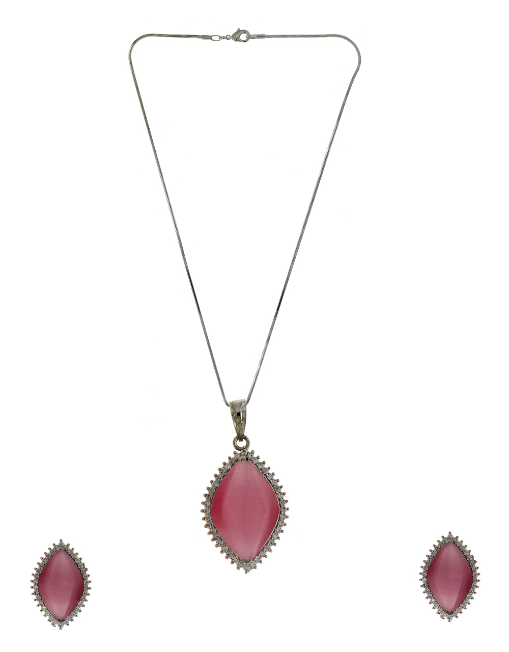 Pink Colour Silver Finish Western Wear American Diamond Pendant Set