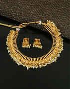 Unique Design Gold Finish Fancy Moti Necklace For Weddings